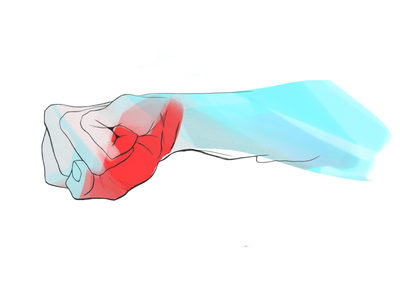 Blue fist digital drawing red blue personal project freelance illustrator gesture drawing gesture fist angry anger hand digitalart illustration