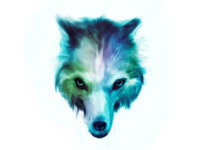 Ice wolf fur eyes look animal digital painting bristles wolf fantasy symmetry freelance illustrator digitalart nature illustration