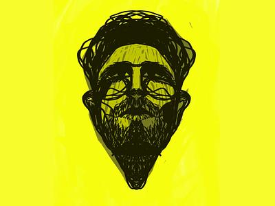 Mr Underbeard procreate freelance illustrator underbeard human portrait yellow lineart beard man face imagination symmetry digitalart illustration