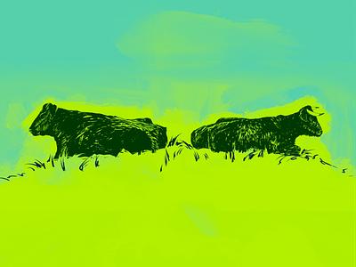 Rumination decisions thinking linestyle vivid mindset chew worry rumination cow animal procreate freelance illustrator digitalart illustration