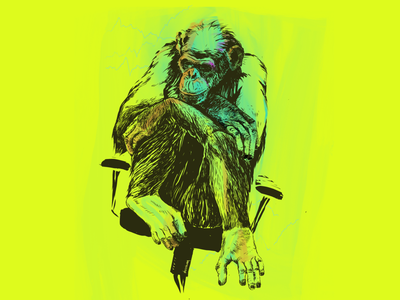 Wall Street Ape sitting finance chart yellow feet hands vivid lineart chair thinking surreal office ape procreate freelance illustrator digitalart illustration
