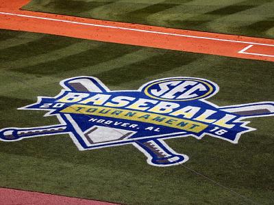 SEC 2016 Baseball Tournament/ On-field shield blue ncaa tournament baseball sec