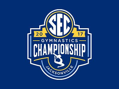 SEC 2017 Gymnastic Championship Logo shield blue ncaa championship gymnastic sec