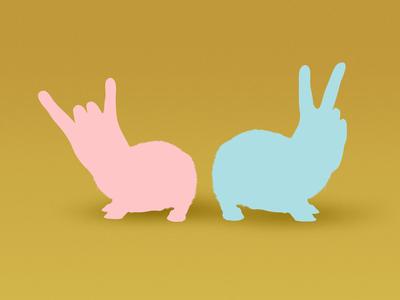 Bunnies colorful fun illustration
