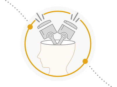Brain Engine Illustation simple human fun illustration