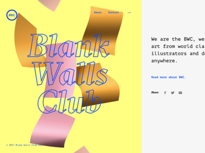 Blank Walls Club Site colorful webdesign wip
