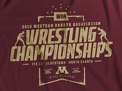 WDA 2016 High School Wrestling Championships graphic design t-shirt minot north dakota