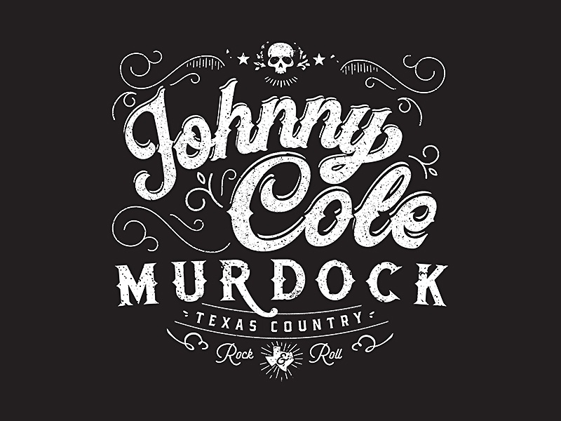 Johnny Cole Murdock country skull band guitar singer rock  roll texas logo