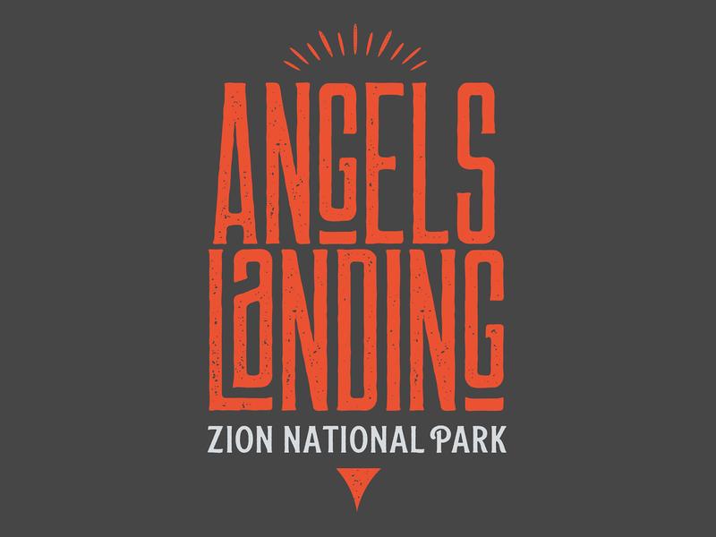 Angels Landing Logo zion national park custom vector logotype typography branding art direction concept