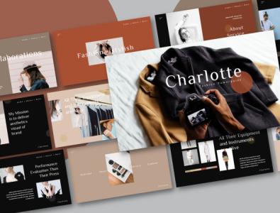 Charlotte Powerpoint Template light dark creative corporate clean chart blue business marketing animation minimal