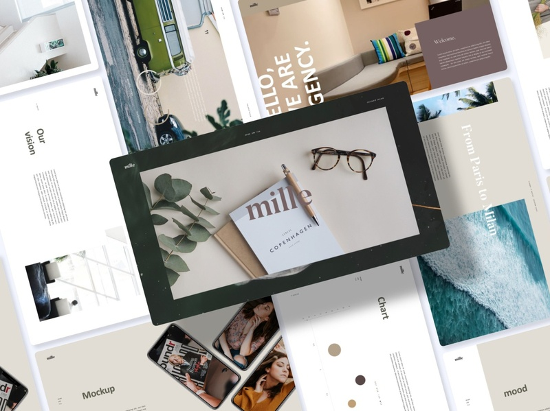 Mille Lookbook - Presentations Template portfolio light creative corporate clean blue chart business animation minimal marketing