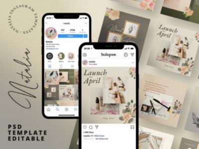 Natalia Social Media Pack Post + Stories psd stories feed business branding fashion social media instagram