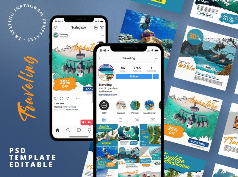 20 Travelling Instagram Pack Banner light portfolio corporate clean blue creative texture promotions layout marketing business travelling travel instagram template socialmedia