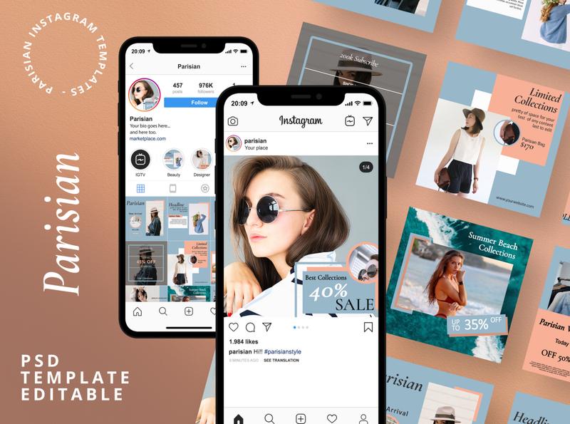Parisian - Instagram Template blue clean creative portfolio layout vibes ads social mockup business hotoffer marketing instagram stories feed instagram temlate social media pack