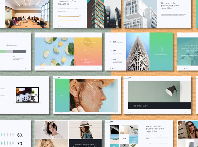 Linked - Minimal Powerpoint Template mock up powerpoint presentation portfolio minimal minimalist marketing line infographic graphics creative corporate company colorful clean chart business bright branding analytic analysis