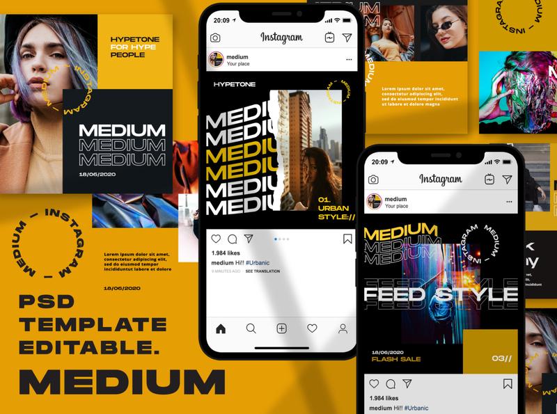 Medium - Instagram Template female posts post instagram stories instagram story