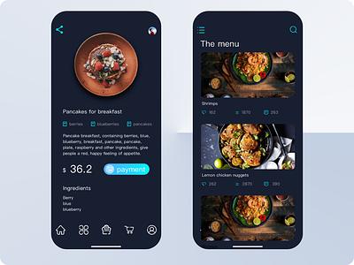 food menu ui mobile gourmet