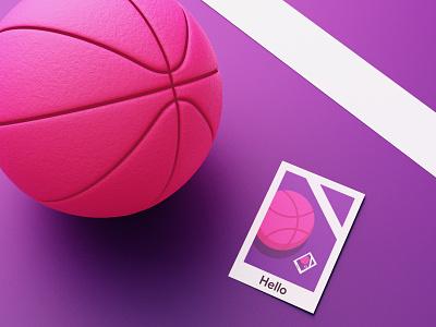 Hello Dribbble! web design web basketball red pink creative art 3d art 3d hello dribbble hello dribbble logo animation branding vector ux ui illustration design