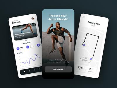 Runner - Running app mobile apps application clean simple minimalist popular mobile jogging app jogging running apps running app app run running design creative branding graphic design ui