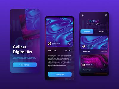 NFT app exploration web mobile design nft art nft ui kit creative art graphic design ui