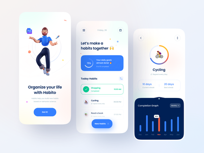 Habito - habit tracker app clean trend minimal application goals schedule app task management trends 2021 routine todo app task manager productivity habit tracker habits 3d app ux illustration ui design