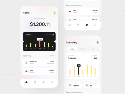 Subscription & Expense Manager payment banking mobile design clean financial finance subscription expense tracker expense manager app ux ui piqo piqo design