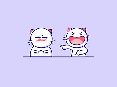 cat simple shy laugh emotion emoji cat