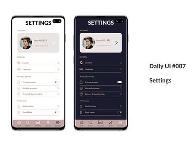 Daily UI Day 007 designer appsettings 007 settingspage settings uxdesign app design ux uidesign ui sketch dailyuichallenge dailyui
