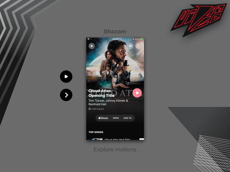 Shazam app usability flat design brand design animation microinteraction web ui ux
