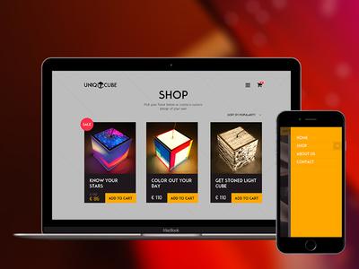 Uniqcube.com e-commerce store design and development