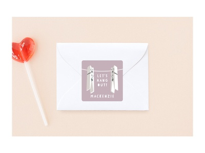 Hanging Buddies stickers for Minted friends clothespin kids valentine customizable sticker stationery minted