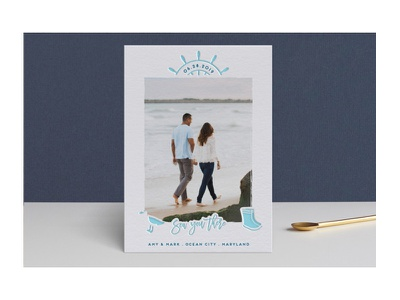 Sea You There - Save the Date save the date couple engaged beach ocean sea nautical minted letterpress stationery wedding