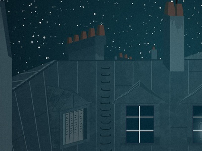 'Les Pioniers' opening title motion design after effects title sequence opening title television documentary night sky stars rooftops paris animation