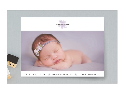 Orchid birth announcement floral flower watercolor card baby birth announcement stationery minted