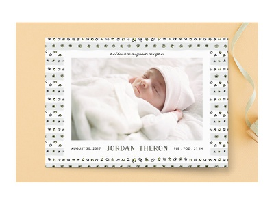 Hello and good night birth announcement for Minted pacifier doodles pattern card baby birth announcement stationery minted