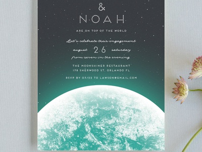 On Top of the World engagement party invitation for Minted invitation fiance couple engaged engagement wedding space earth planet world on top of the world stationery minted