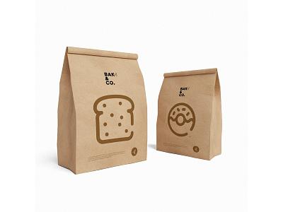 Bake & Co. packaging minimal logo illustration graphic design design branding baking bakery bake