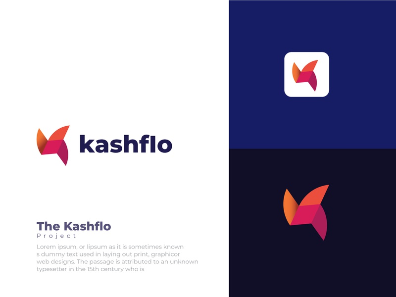 "K Letter Design- ""Kashflo"" Modern and Brand Identity symbol logo mark symbol icon logo maker logo design logo typography geometric design branding design illustration brand brand identity abstract logo app banding app"