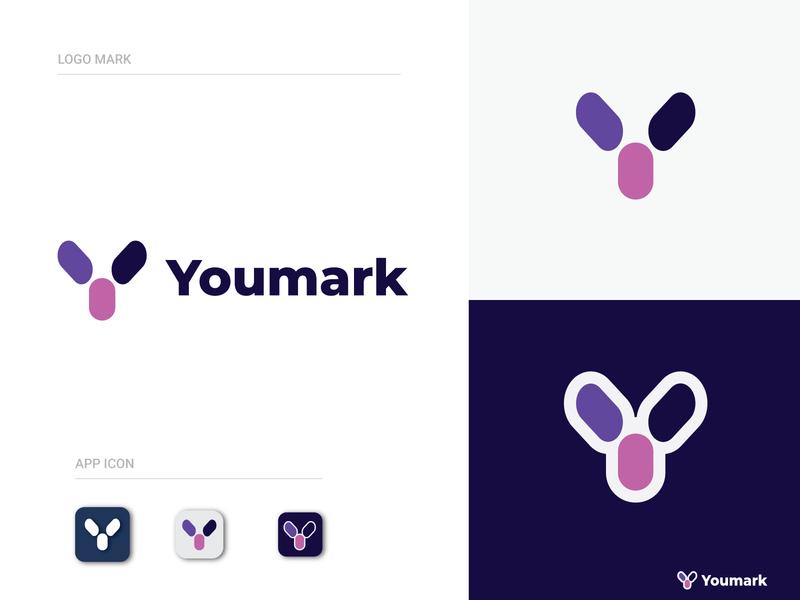 "Y Letter Design- ""Yourmark"" Modern and Brand Identity (Unused) minimalist logo business y yoga letter lettermark creative design modern logo geometric design brand identity abstract logo typography logo illustration brand app banding app branding"