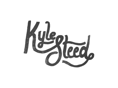Kyle Steed in Script hand-drawn lettering identity working black white