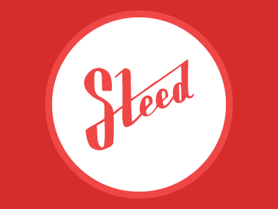 Steed Mark steed hand-drawn logo design red white circle