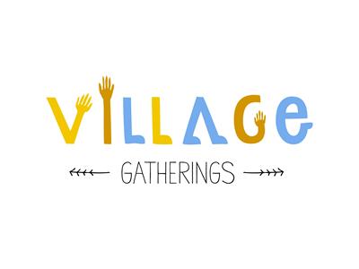 Village Gatherings illustration lettering ewc