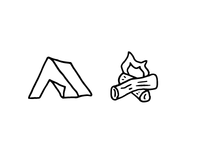 Camp Fire steedicons icons hand-drawn
