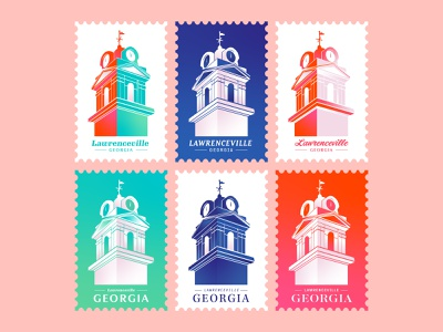 Postcard Invitation Set building clock tower clock georgia atlanta color gradient illustration vector typography geometric shapes postcard stamp card mail invitation set time identity branding