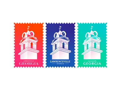 Postcard Set | Lawerenceville, GA typography branding invitation postcards stamp mail postcard vector discovery gradient travel adventure explore atlanta georgia clock tower clock building