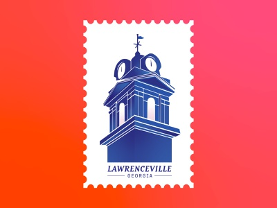 Lawerenceville, GA | Postcard geometric typography illustration stamp invitation explore adventure travel usa atlanta ga clocktower clock time tower gradient mail postcard branding