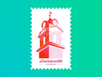 Lawrenceville, GA | Postcard identity invitation set explore travel adventure mail stamp postcard shapes geometric typography gradient ga illustration vector georgia clock clocktower building
