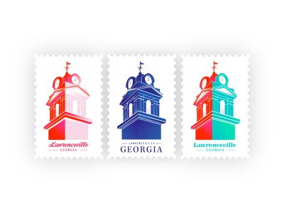 Postcard Set | Lawerenceville, GA branding identity time stamp invitation mail postcard shapes geometric typography vector illustration purple color pink clock clocktower gradient atlanta georgia