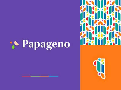 Papageno Game Brand logo purple circle shapes garden leaf happy energy bird opera play game pattern abstract playful fun colorful brand identity identity branding