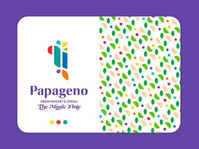 Papageno Brand typography design purple pattern design repeating geometric seamless flat vector illustration fun adventure shapes colorful papageno game bird branding identity pattern